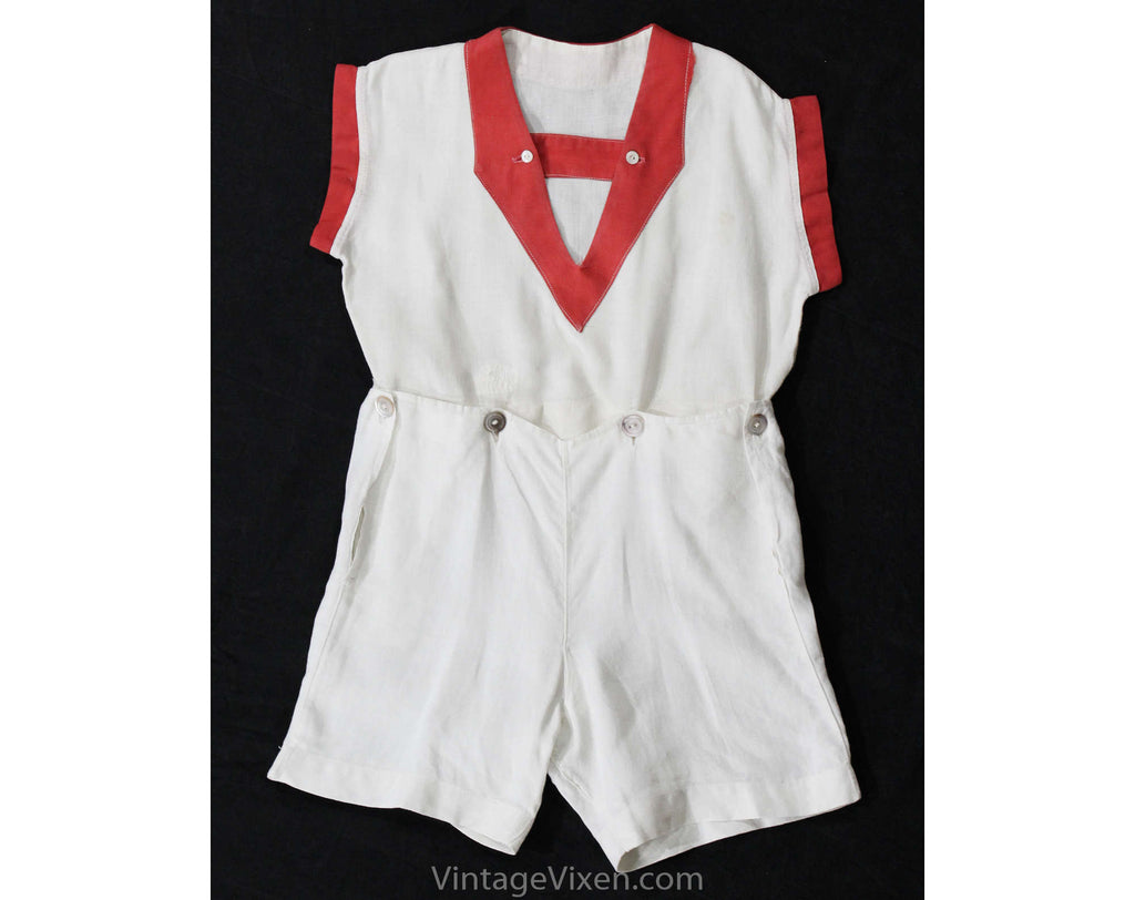 Girls 1930s Romper - Size 5 Authentic 30s Linen Play Outfit - Red & White Girl's Short Sleeve Summer Playset - Art Deco Clothes - Chest 29