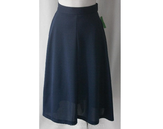 FINAL SALE Size 2 Blueberry A-Line Skirt - 1970s Small Blue Jersey Casual Skirt - Side Slits - Mint Condition - 70s NWT Deadstock - Waist 24
