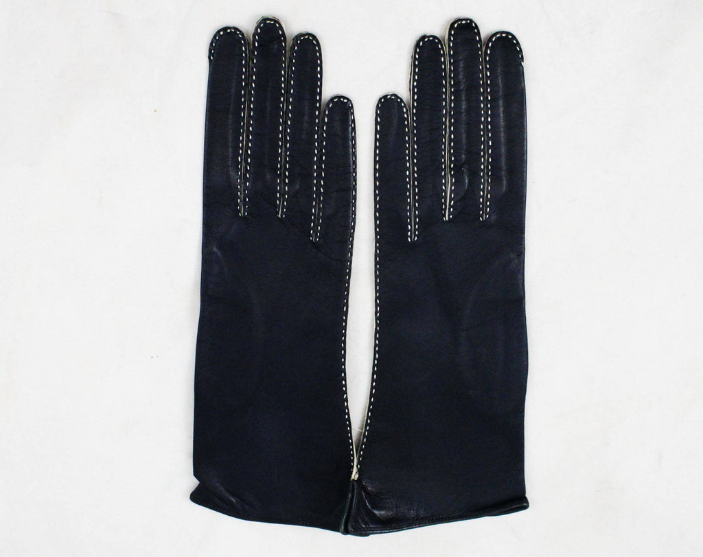 Navy Leather Gloves with Pick Stitching - Size 5 1/2 Sophisticated Wrist Length Pair 1950s Kid Gloves - White & Dark Blue - Mint Condition