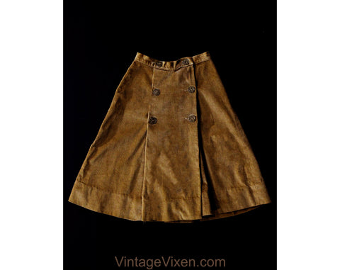 XXXS 60s Corduroy Skirt - Tan Brown Cotton A-Line 1960s Wrap Skirt with Fleur De Lis Buttons - less than Size 000 - Waist 21 - NWT Deadstock