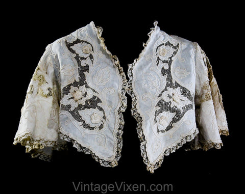 Size Small Victorian Jacket - 1890s 1900s Edwardian Summer Bolero - Cutwork Ecru Linen & Crochet Flowers with Jagged Hem - Bust 34
