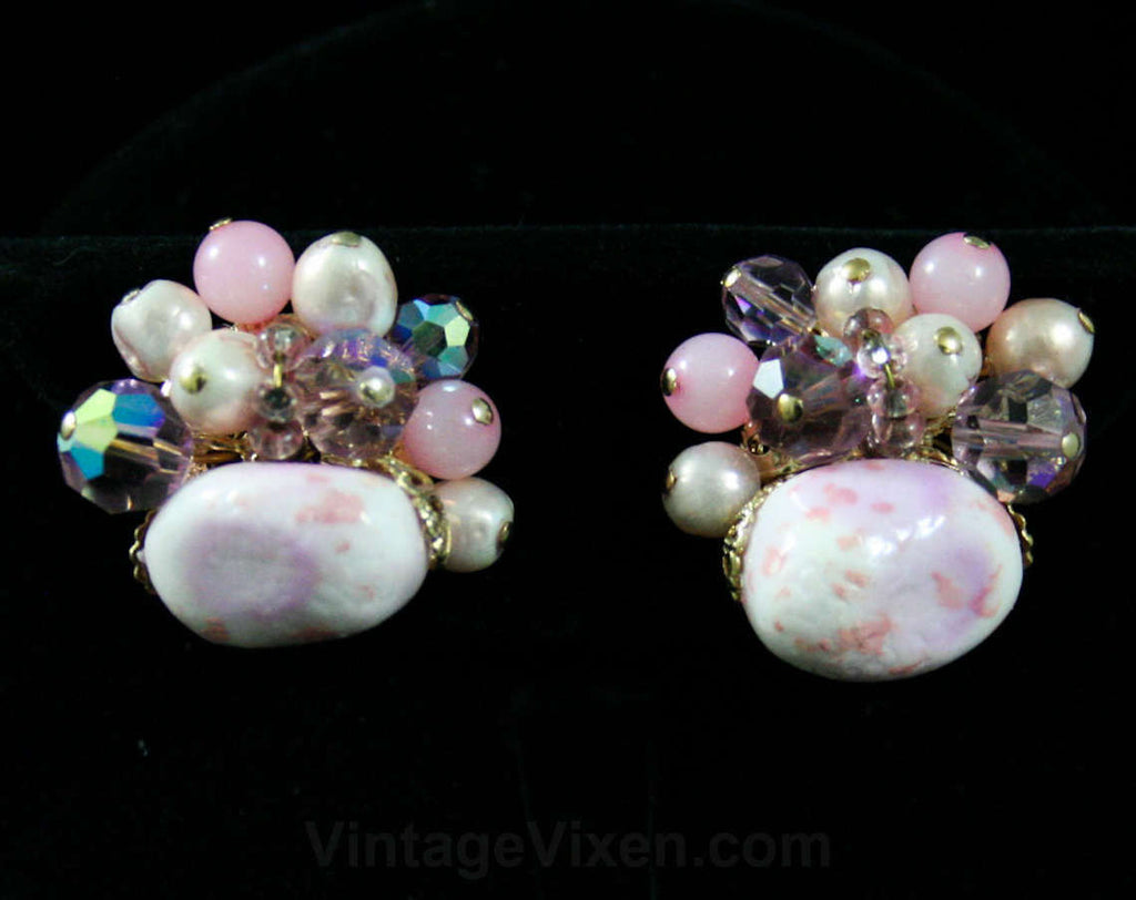 Vendome Pink Earrings - Glam - 1950s - Pink Pebbles - Violet Cut Crystal - Bead Clusters - Clips - Designer - Pale Pastel Colors - 42416