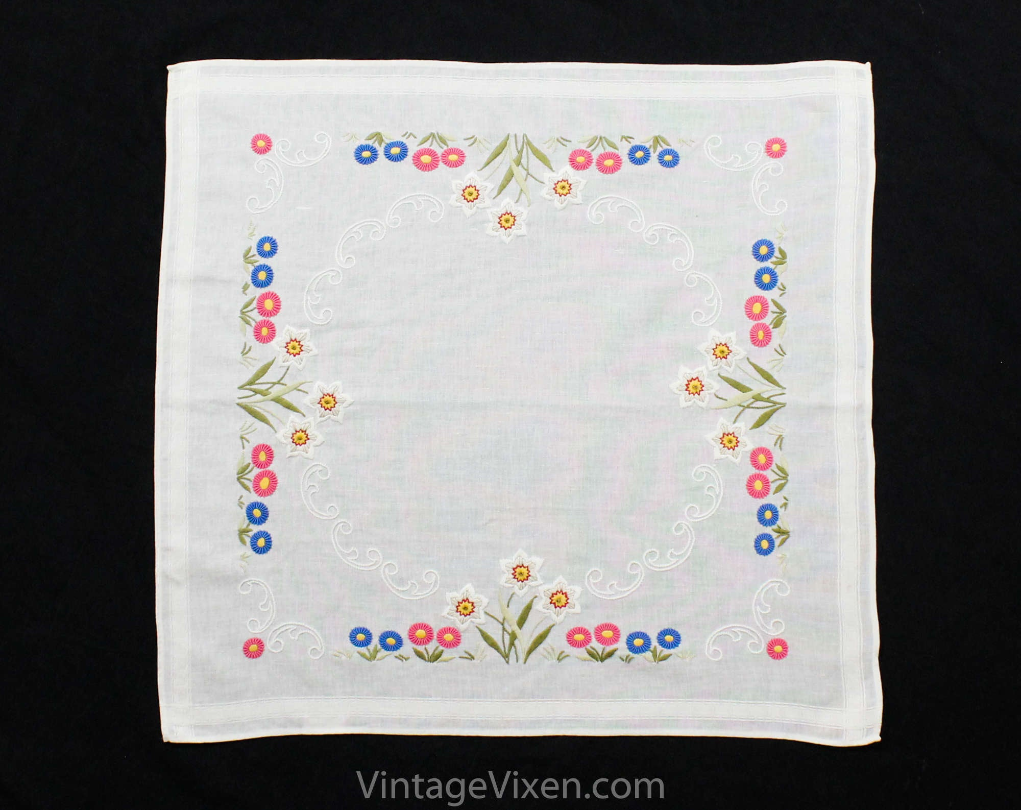 Vintage linen pink square table topper with floral hand embroidery