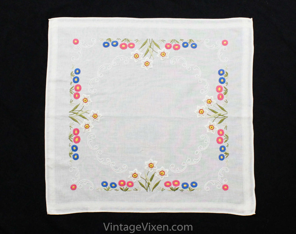 Charming Lilies Tablecloth - Day Lily & Daisy Flowers Hand Embroidered Square Linen and Cotton German Table Cloth - Pink Blue White Yellow