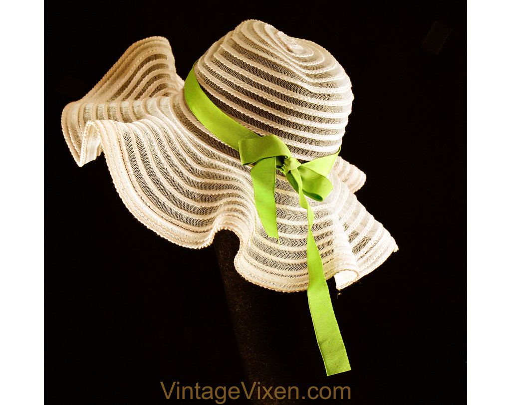 1970s Floppy Brim Sun Hat - Sheer Pink Spring & Summer 70s Deb Style - See Through Faux Horsehair - Wavy Big Brim - Apple Green Ribbon