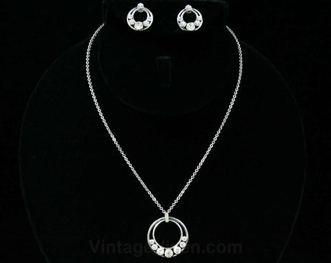 Silver Crescent Necklace & Earrings - 1950s 1960s Elegant Modern Demi Parure - Rhinestone Circles - Stainless Metal - Top Quality Krementz