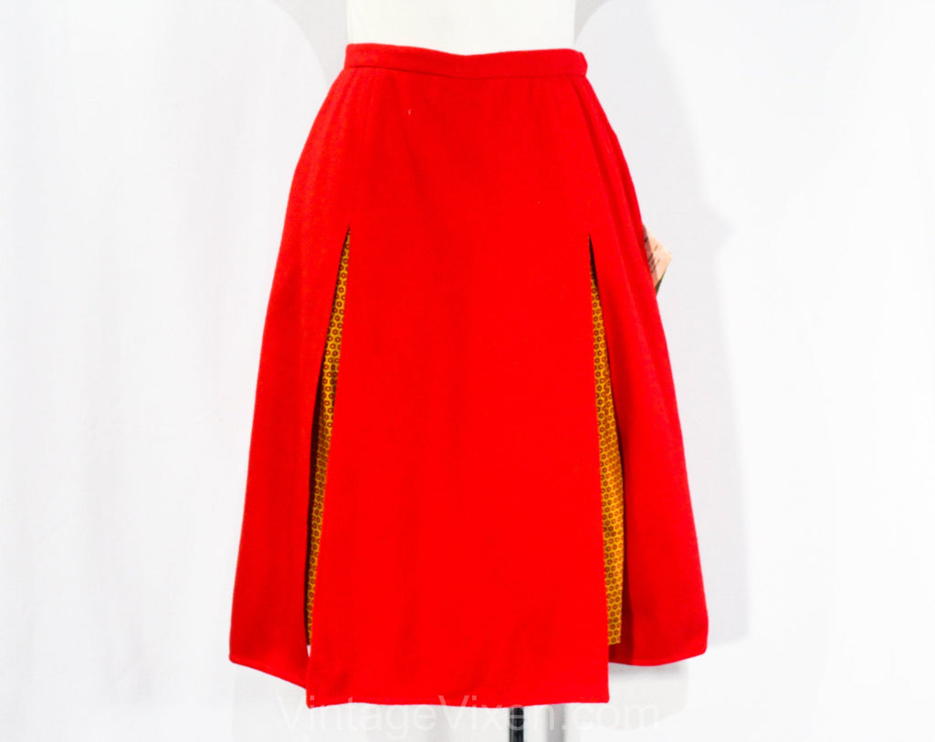 Size 0 Pedal Pusher Skirt - XXS 1960s Red Wool Skirt with Yellow Daisy Print Short Pants Lining - 60s Girl Friday NWT Deadstock - Waist 23.5