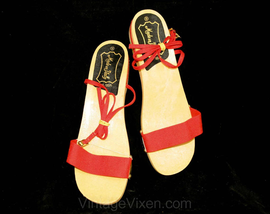 Made In Italy 1960s Red Sandals - Size 8 - Summer - Euro - New In Box 40012-4
