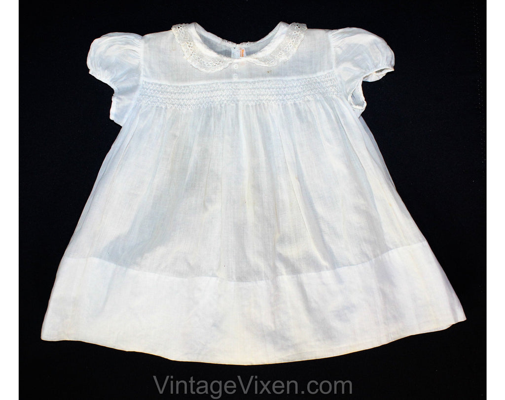 Antique Style Infant's Dress - Size 3 to 6 Months Baby Frock - Sheer White with Smocking & Embroidery - Victorian Look Heirloom - Hand Sewn