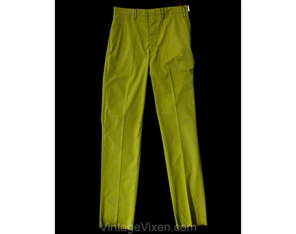 Men's Small 60s Pants - Mod Men 1960s Goldenrod Yellow Tailored Trouser - Straight Leg - NOS NWT Deadstock - Waist 31 - Inseam 37.5 Tall