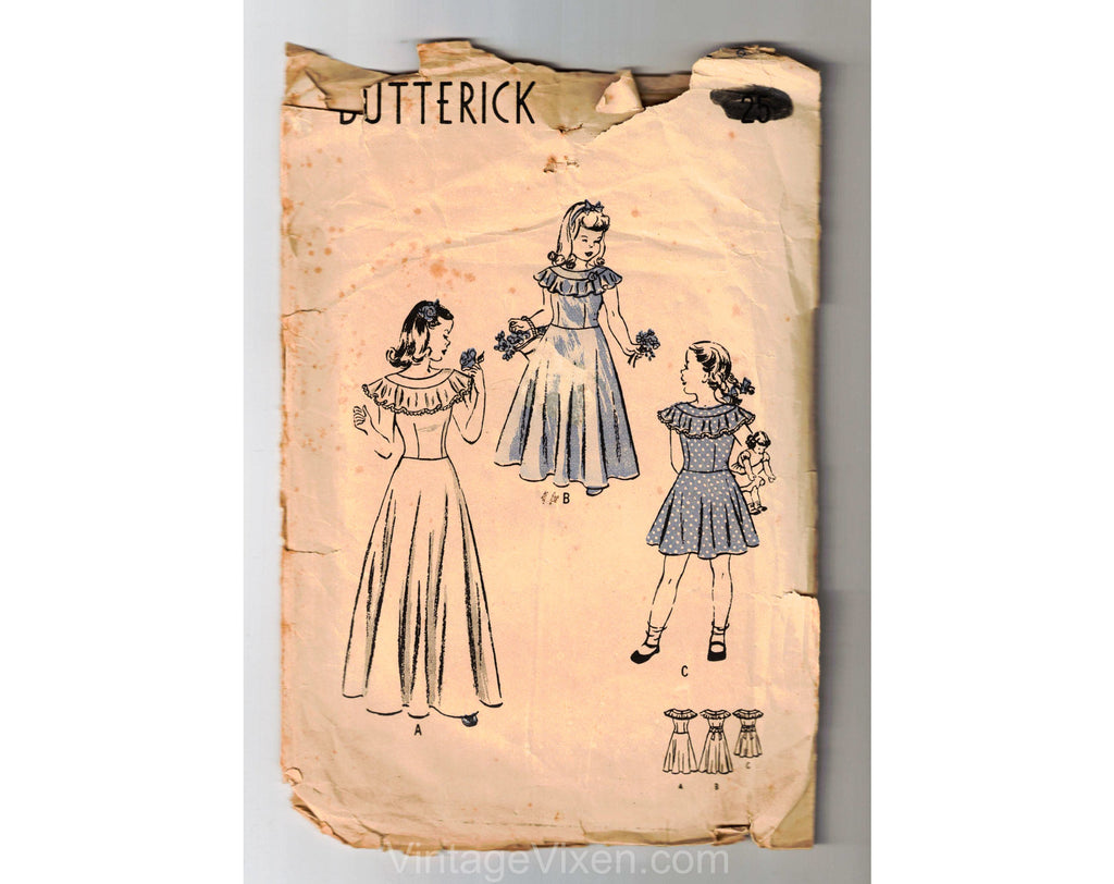 1930s 40s Girl's Dress Sewing Pattern - Child Size 8 Little Girls Party Frock - Long or Knee Length Circle Skirt - Chest 26 Butterick 4061