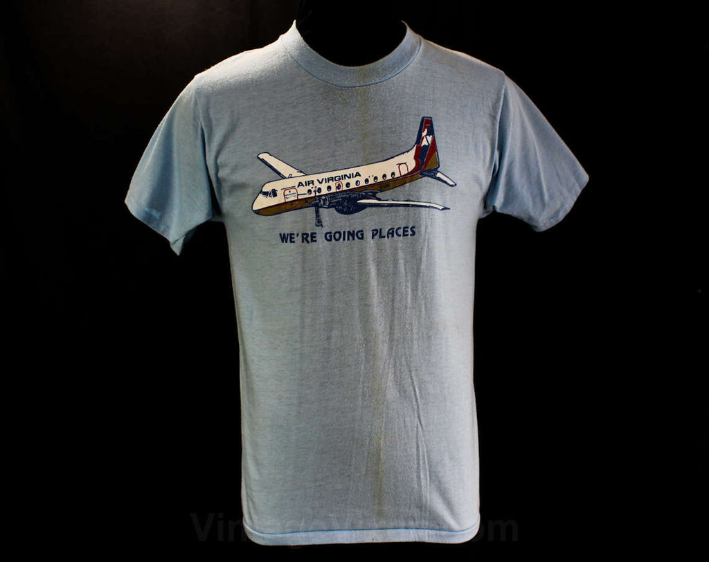 Men's Small Airplane TShirt - Air Virginia Airlines Vintage Tee - Short Sleeved Mens Summer Top - Retro Graphic - Chest 37 - 46406