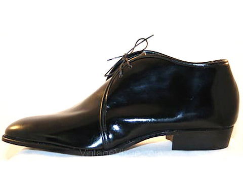 Size 8 Men's Shoes - 1960s Mod Black Patent Mens Dress Shoe - 60s Mid Century Modern - Streamlined Oxfords - NOS 60's Deadstock by Rex