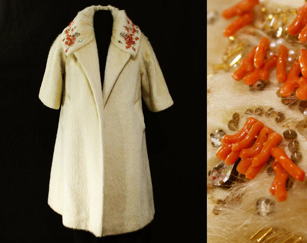 Rare Lilli Ann Swing Coat - 50s 60s Orange Coral Reef Branches & Rhinestones with Beadwork and Gold Sequins - Ivory Mohair - Medium