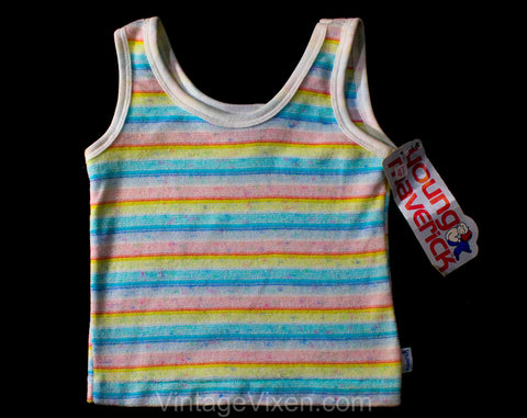 4T Rainbow Striped Tank Top - Pastel Terrycloth 1970s Toddler Shirt - Sleeveless Girl's Summer Hazy Soft Casual Knit - 70s 80s Deadstock NWT