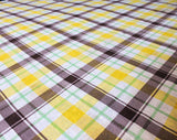 1960s Plaid Fabric - 4 Yards x 44 Inches Wide - 60s Cotton Blend Broadcloth - Yellow Brown Lime Green White Yardage - Wamsutta Spring