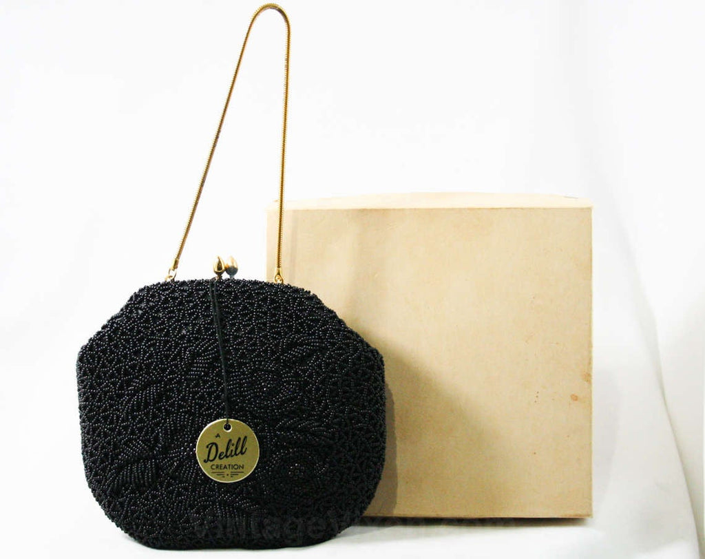 Black Caviar Beaded Evening Bag by Delill - 1960s Formal Purse - Round Handbag - Original 60s Tag & Box - NWT - Hand Beading - 43357