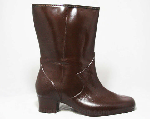 Size 7 Brown Boots - Victorian Inspired - Authentic 1950s Deadstock - Waterproof Vinyl - Fleece Lined Winter Shoes - Ladies Wide Width