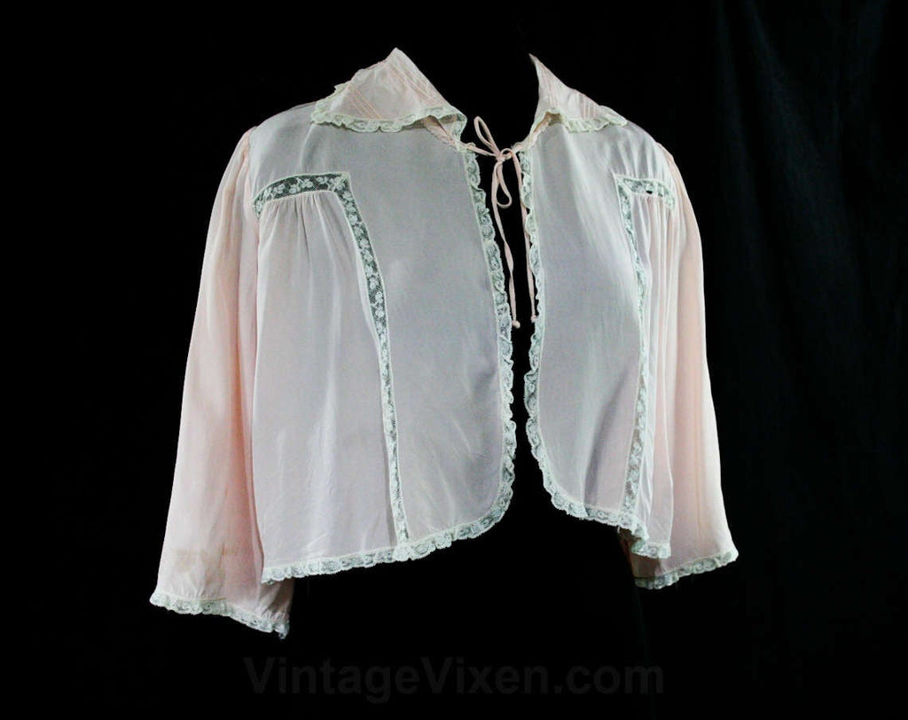 FINAL SALE Charming 1940s Silky Pink Bed Jacket with Ecru Lace - As Is - Size Small to Medium - 30s Trousseaux - Cold Rayon - Bust up to 42