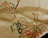 40s Embroidered Tablecloth - 1940s Spring Oval Flower Baskets - Antique Tea Colored Beige - Pink Blue Green Brown - Sweet Daisy Flowers