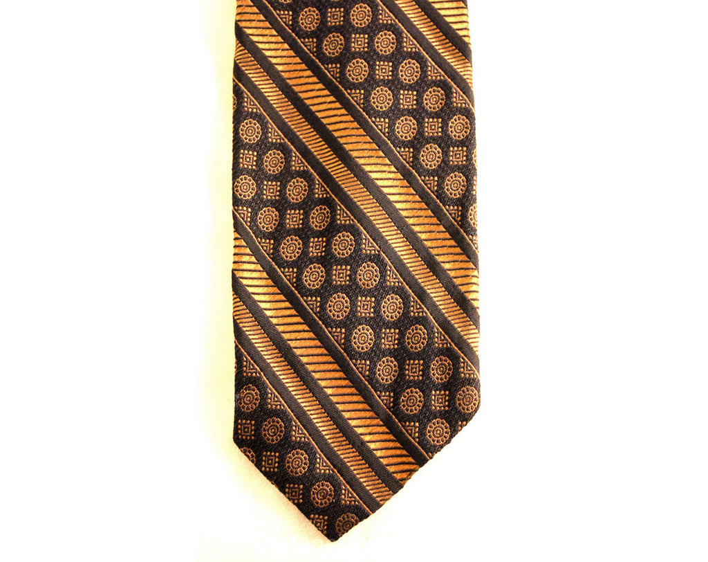 1970s Polyester Tie - Midnight Blue & Khaki 70s Necktie - Men's Neckwear - Mens 1970's Neck Tie - Medallion Pattern Brocade - 37196-1