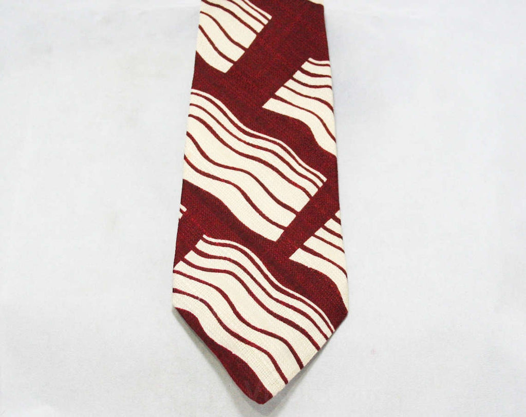 Men's Designer Tie - Maroon & Gray Raw Silk - 80s Necktie - 1980s Guy Laroche Paris Label - Burgundy - Abstract Wavy Pattern Burgundy Waves