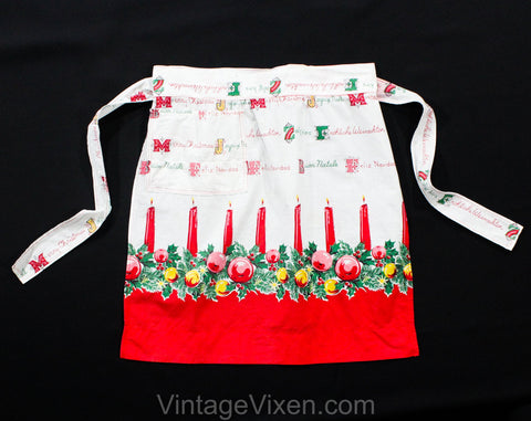 Small Christmas Apron - 1950s Holiday Novelty Print - Cute Candles 50s Housewife - International Merry Christmas Feliz Navidad - Waist to 25