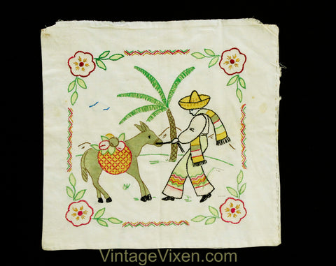South American Pillow Case - 1950s Tropical Scene Embroidery - Square 14 x 16 Inch Pillowcase - Novelty Man in Gauchos Donkey Palm Tree