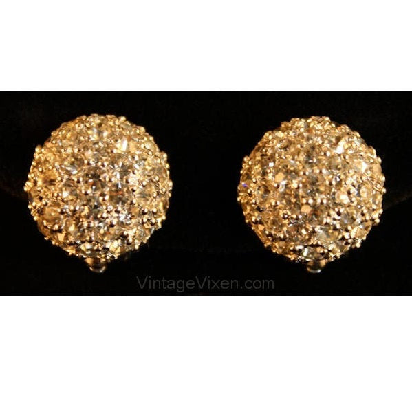 Beautiful Pavè Rhinestone Earrings by Pennino - Clip On Button Style Round - 1950s Glamour Girl Marilyn Chic - Mint Condition - 50s Pennino