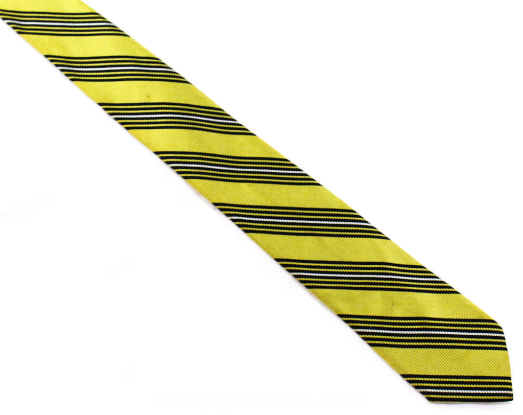 50s Yellow Striped Tie - 1950s Citrus & Black Necktie - Diagonal Stripes Collegiate Style Preppy Cravat - Mid Century 50's Office Wear