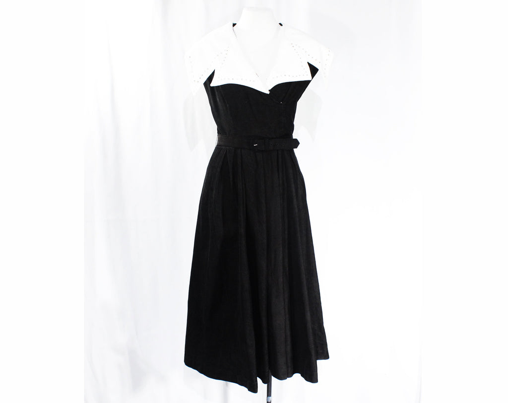 Size 10 1950s Wrap Dress - Terrific Black Corduroy Swing Era 50s Full Skirted Frock with White Rhinestone Lapel - Fit & Flare - Waist 28