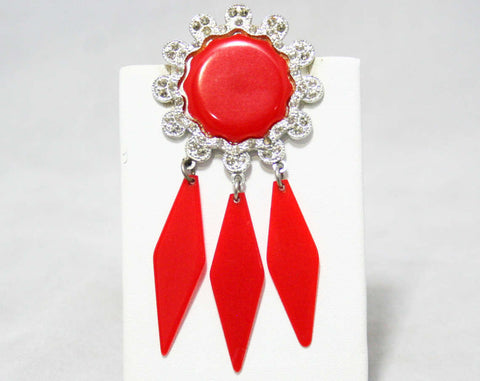 Rockabilly 1950s Red Plastic Pin - Dream Catcher Style - Round Disk with Rhinestones - Dangling Details - Apex Art Novelty Co - 44390