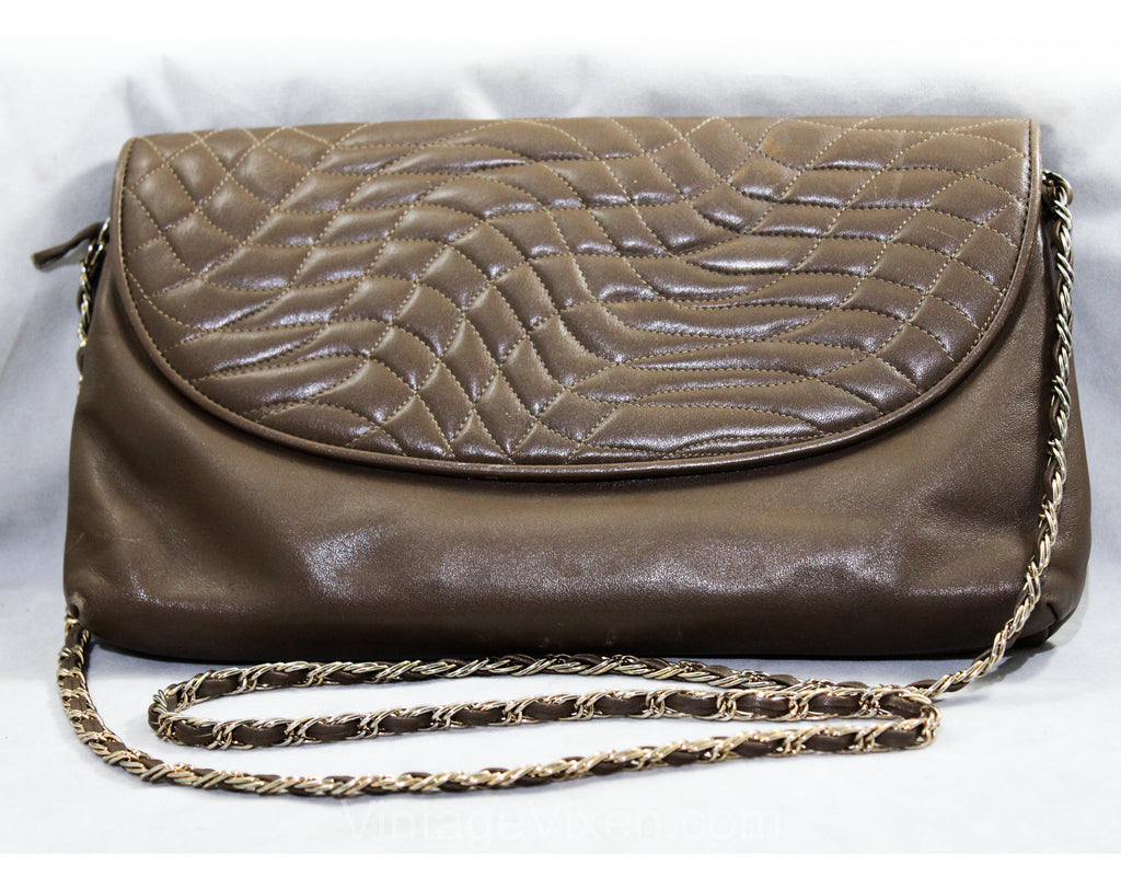 80s Pierre Cardin Purse - Designer 1980s Gray Leather Shoulder Bag with Quilted Flap - Avant Garde Asymmetric Quilted Waves - Chain Strap