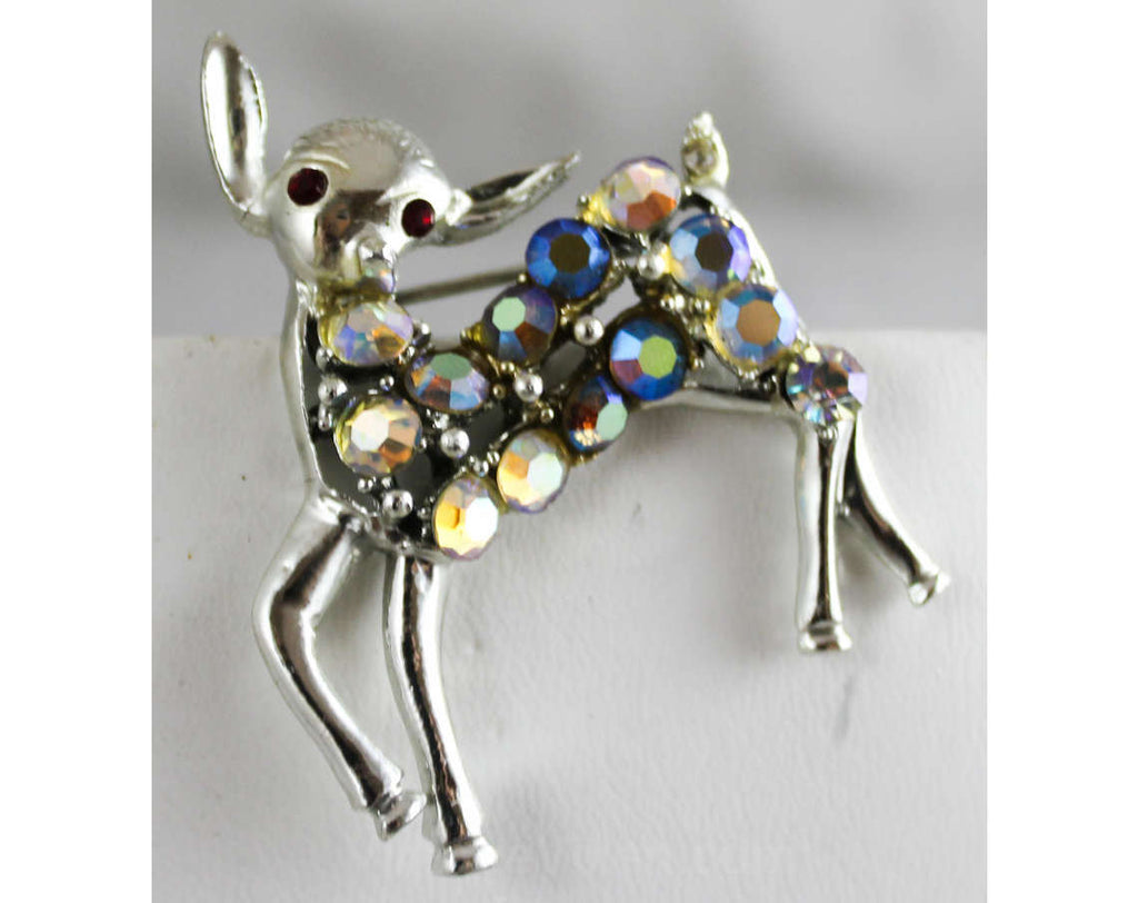 1950s Deer Pin - Rhinestone Brooch with Red Eyes - 50s 60s Novelty Animal Brooch - Woodland Fawn - Aurora Borealis & Silvertone Metal