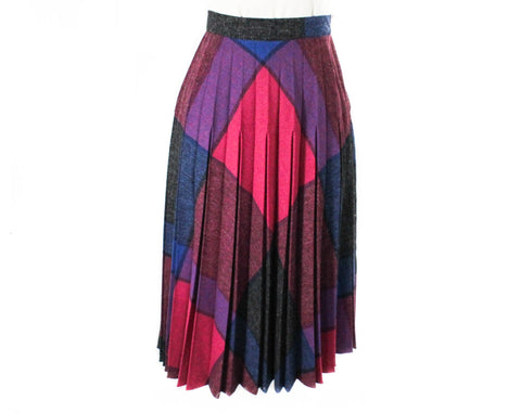 Size 8 Plaid Skirt - 1980s Retro Magenta Pink Purple & Indigo Blue Faux Wool 80s - Full Pleated Flare - Fall Winter Jeweltones - Waist 27