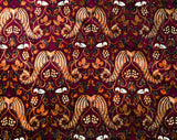 1960s Cotton Print Fabric - 2.5 Yards Burgundy & Brown India Print - Continuous Yardage - 60s 70s Bohemian Grapes Angel Wings Novelty Print