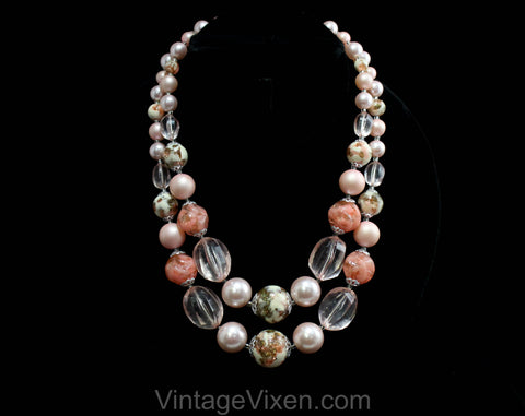 Pink 60s Multi-Strand Necklace - Spring 1960s Nougat Beads, Candy Like Beads & Faux Pearls - Two Strand Graduated Necklace - 50504