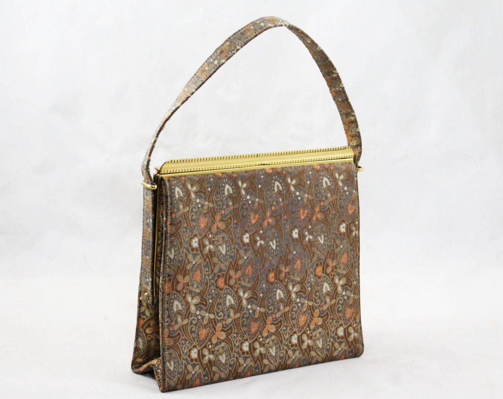 50s Evening Purse - Gold & Fawn Floral Metallic Satin Brocade 1950s Formal Bag - Japanese Saga Nishiki Art Brocade Handbag - Japan Artisan