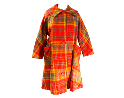 Terrific 1950s Size 20 Coat - Red Tartan Plaid Wool Overcoat with Chevron Seam - 50s Autumn Winter Mid Century Chic - XL Plus Size - Bust 48