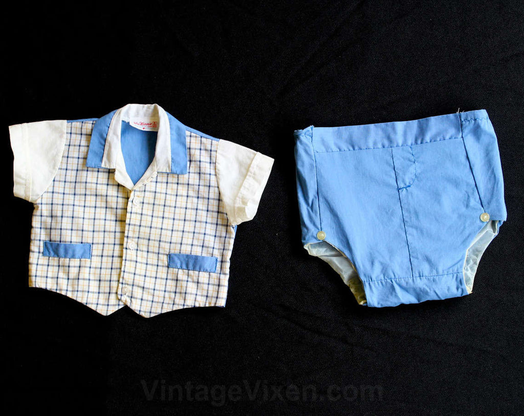 1950s Baby Boy's Blue Plaid Shirt & Short - Size 6 Months - Little Ricky - Boys Summer 50s Outfit - Waterproof Diaper Cover - 29811-1