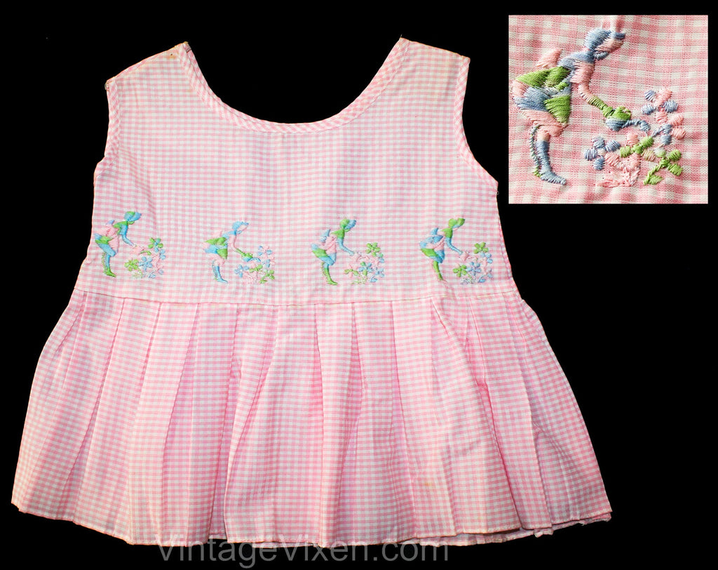 3T Girls 1950s Pink Gingham Dress - Charming Toddler Planting Flowers 60s Summer Tunic Top - Pastel Blue Green - How Does Your Garden Grow