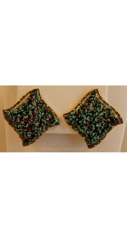 Chic 1950s Earrings - Moroccan Style Turquoise Fleck Art Glass Jewelry - Blue & Red 50s Square Tile Stars - Clip On - 35655