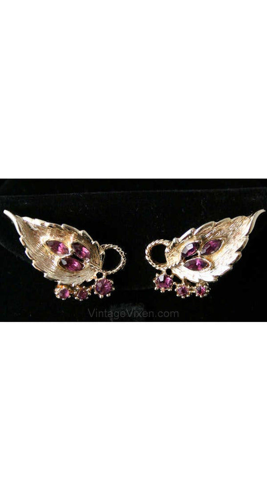 Elegant 50s Purple & Metal Leaf Earrings - Fall - Faux Amethyst - 1950s Classic Clip Earrings - Leafy Jewelry - Mint Condition - 38446-1