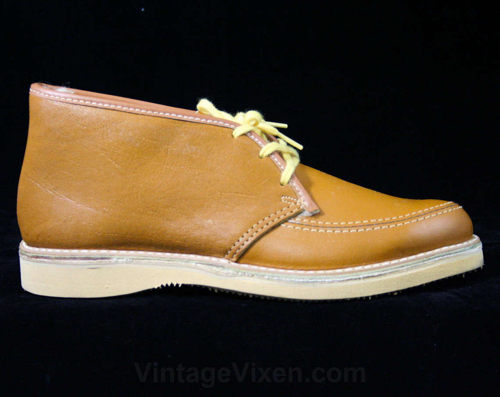 Boys Size 1.5 Fall School Shoes - Authentic 1960s Tan Brown Leather Child's Shoe - Never Worn by School Chums - 60s Boy's Deadstock 43252-1