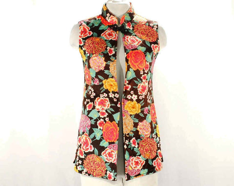 Size 000 Bohemian Vest - 1960s 70s Quilted Floral Sleeveless Tunic Top - Asian Mandarin Collar - Brown Fuchsia Pink Orange - Bust 30 - XXS