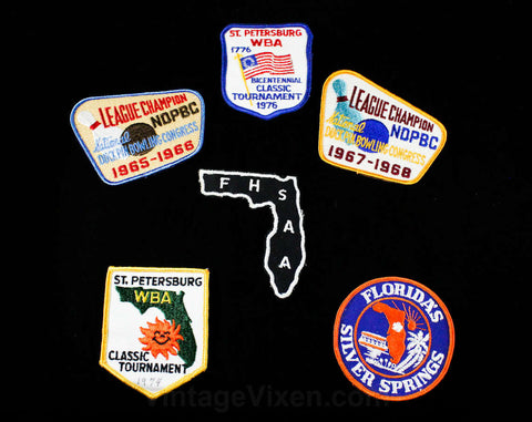 Lot of 6 Bowling Shirt Patches - Bowlers League Champion Patch - Kitsch Retro Embroidered Appliques - 1960s 1970s Bowling Bag Decoration