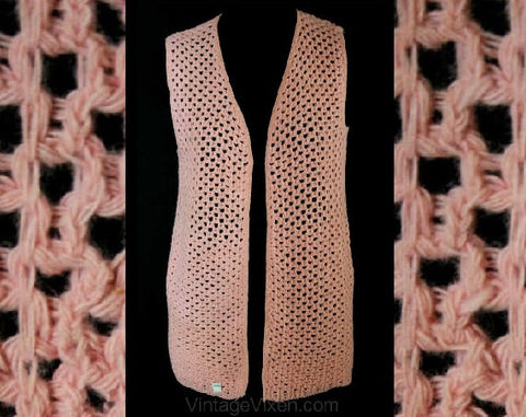 Size 2 Pink Vest - Gypsy Style Rose Pink Honeycomb Knit Tunic Vest - XS - Spring - Fall - Open Front - Deadstock - Bust 34 - 38088-1