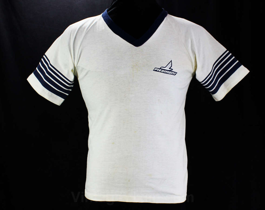 Men's Small Souvenir T Shirt - 80s Piedmont Airlines Tee - White Cotton Knit with Navy Blue Stripes - Short Sleeved V Neck - Chest 36