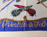 Frivolites de Fath Silk Scarf - Rare 1950s 60s Jacques Fath Novelty Print - Ladies Gloves Parasol Pearls & Feathers - Cobalt Blue - 49893