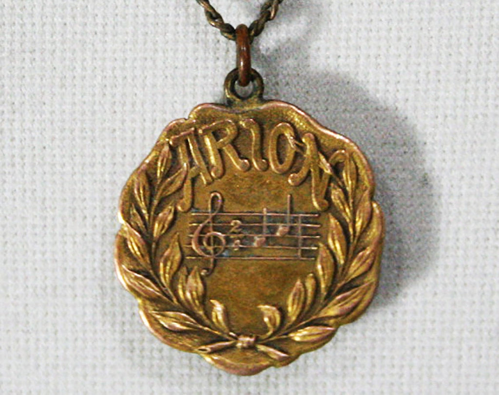 ca. 1914 Antique 1910s Pendant Necklace - Arion Club Musical Contest Winner - First Prize Vocal Solo Gold Music Award - Milwaukee Wisconsin